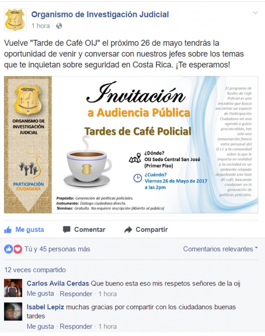Invitación Audiencia 26 de Mayo Facebook Segunda Publicación de la  invitación vía Facebook. 6a5bd0b37805